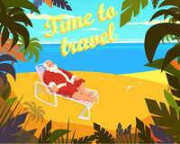 Tropical beach, sun, summer, santa claus, holiday, time to travel. Vector illustration Royalty Free Stock Photo