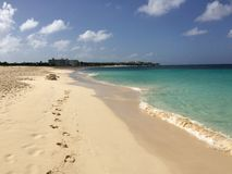 Tropical beach. In a sunny day - Anguilla Royalty Free Stock Photos
