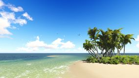 Tropical beach in sunny day. Clouds and blue sky stock footage