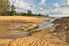 Tropical beach in sunny day. Khao Lak province, Thailand stock photography