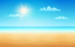 Tropical beach in sunny day. Vector illustration of a empty tropical beach in summer day. Tropical beach in sunny day Stock Image