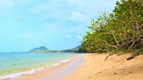 Tropical Beach. Sunny beach and island on horizon, Thailand Royalty Free Stock Photos
