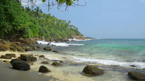 Tropical beach. At sunny noon, Sri Lanka stock footage