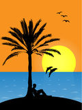Tropical beach at sunset. Beach at sunset with sitting man at palm. Palm illustration is extremly detailed, all leafs are very detailed Royalty Free Stock Images