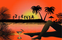 Tropical beach sunset. Tropical backgrounds Stock Images