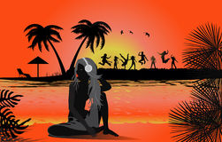 Tropical beach sunset. Tropical backgrounds Royalty Free Stock Image