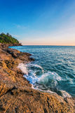 Tropical beach at sunset. Royalty Free Stock Photo