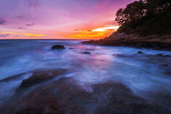 Tropical beach at sunset. Royalty Free Stock Images