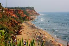 Tropical beach at sunset. India, Kerala Stock Photography