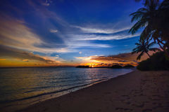 Tropical beach at sunset Royalty Free Stock Images