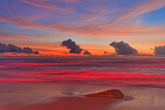 Tropical beach after sunset in beach lights. Nature background royalty free stock image