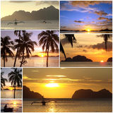 Tropical beach sunset Royalty Free Stock Images