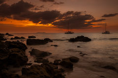 Tropical beach sunset. Last rays of light on beautiful Koh Kradan island, Trang Province, Thailand Stock Photo
