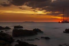 Tropical beach sunset. Last rays of light on Koh Kradan island, Thailand Royalty Free Stock Image