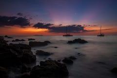 Tropical beach sunset. Last rays of light on Koh Kradan island, Thailand Royalty Free Stock Photography