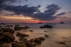 Tropical beach sunset. Last rays of light on Kok Kradan island, Thailand Stock Image