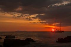 Tropical beach sunset. Last rays of light on Kok Kradan island, Trang Province, Thailand Royalty Free Stock Photos
