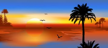 Free Tropical Beach Sunset. Paradise Island With Flying Birds Royalty Free Stock Images - 156413089