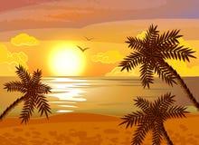 Tropical beach sunset poster Royalty Free Stock Photos