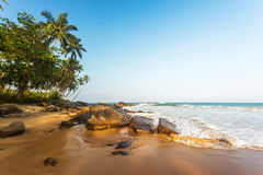 Tropical beach at sunset, romantic landscape Royalty Free Stock Photography