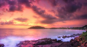Tropical beach on sunset stock photo