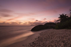 Tropical Beach Sunset, Seychelles Royalty Free Stock Photo
