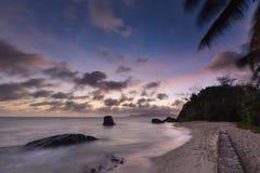 Tropical Beach Sunset, Seychelles Stock Image