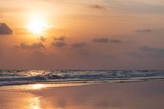 Tropical beach in sunset time at Thailand Stock Image
