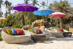 Tropical beach with swimming pool, coconuts palm trees, rattan daybeds and umbrella near sea, Thailand Royalty Free Stock Image