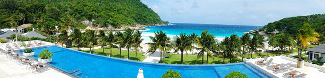 Tropical beach and swimming pool panoramic background Royalty Free Stock Photos
