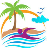 Tropical beach swimming. A vector drawing represents tropical beach swimming design stock illustration