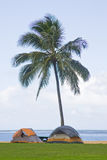 Tropical beach tent camping Royalty Free Stock Image