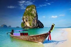 Tropical beach, Thailand. Tropical beach, longtail boat, Andaman Sea, Thailand Royalty Free Stock Photography