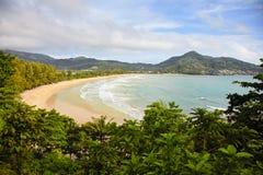 Tropical beach - Thailand, Phuket, Kamala. Bay of tropical ocean with the beach - Thailand, Phuket, Kamala Stock Photography