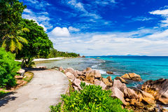 Free Tropical Beach. The Seychelles Stock Images - 49159064