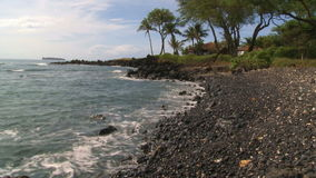 Tropical Beach. Time Lapse of Hawaiian Lava Rock Beach stock footage
