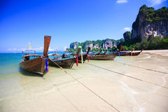 Tropical beach traditional long tail boat Royalty Free Stock Images