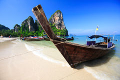 Tropical beach traditional long tail boat Stock Photo