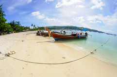 Tropical beach, traditional long tail boat Royalty Free Stock Photography