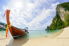 Tropical beach, traditional long tail boat Stock Image