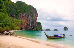 Tropical beach, traditional long tail boats, Andaman Sea, Thaila Royalty Free Stock Image