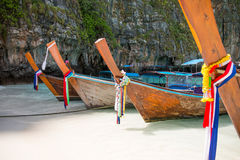 Tropical beach, traditional long tail boats, famous Maya Bay Royalty Free Stock Photo