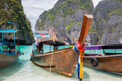 Tropical beach, traditional long tail boats, famous Maya Bay Stock Images