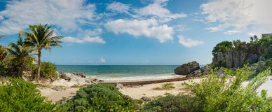 Tropical beach at the Tulum archaeological site, Quintana Roo, M royalty free stock photos