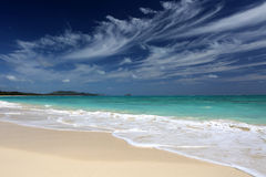 Tropical Beach Turquoise Ocean Blue Sky Hawaii Stock Images