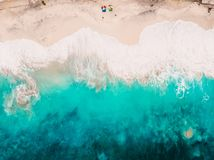 Tropical beach with turquoise ocean and waves. Aerial view. Tropical beach with turquoise ocean and waves royalty free stock photos