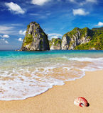 Tropical beach. With turquoise see and blue sky Stock Image