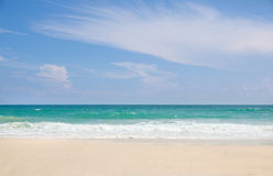 Tropical beach, turquoise water and blue sky Stock Images