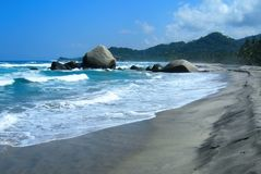 Tropical Beach and turquoise water in Tayrona National Park royalty free stock photography