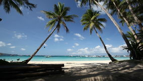Tropical beach with two palm. Tropical beach with two coconut palms and white sand, Boracay, Philippines stock footage